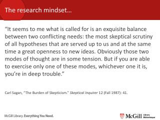 The research mindset…