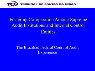 Fostering Co-operation Among Supreme Audit Institutions and Internal Control Entities