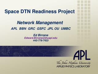 Space DTN Readiness Project Network Management