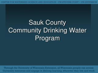 Sauk County Community Drinking Water Program