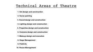 Technical Areas of Theatre