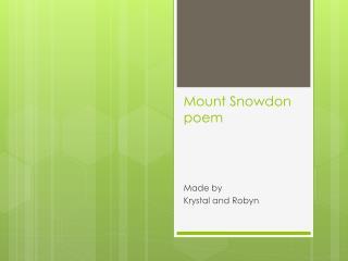Mount Snowdon  poem