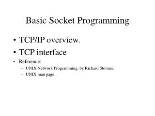Basic Socket Programming