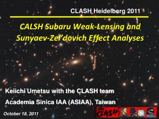 CALSH Subaru Weak-Lensing and  Sunyaev-Zel'dovich  Effect Analyses