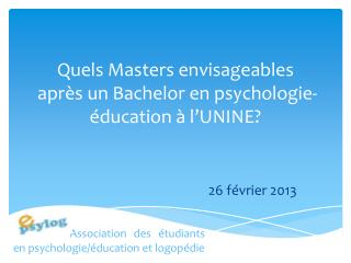 Quels Masters envisageables  apr�s un Bachelor en psychologie-�ducation � l�UNINE?