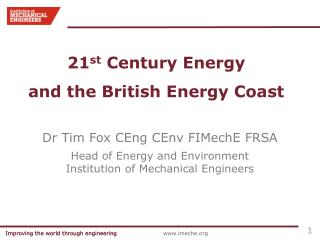 21 st  Century Energy and the British Energy Coast
