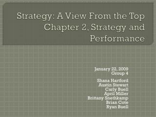 Strategy: A View From the Top Chapter 2, Strategy and Performance