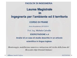 Laurea Magistrale  in  Ingegneria per l'ambiente ed il territorio