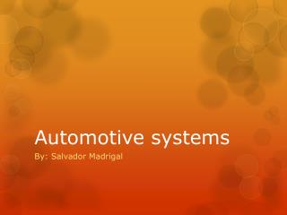 Automotive systems
