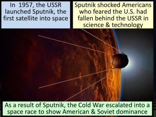 In  1957, the USSR   launched  Sputnik, the first satellite into space