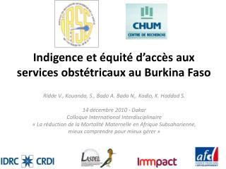 Indigence et �quit� d�acc�s aux services obst�tricaux au Burkina Faso