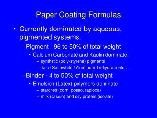 Paper Coating Formulas