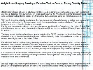 Weight Loss Surgery Proving a Valuable Tool to Combat Rising