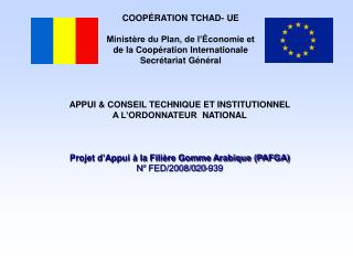 COOPÉRATION TCHAD- UE Ministère du Plan, de l'Économie et  de la Coopération Internationale