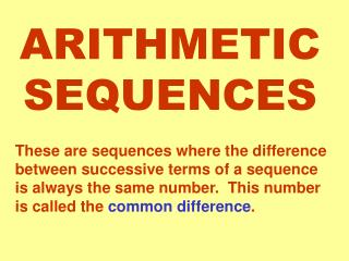 ARITHMETIC SEQUENCES