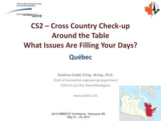 CS2 – Cross Country Check-up Around the Table What Issues Are Filling Your Days?