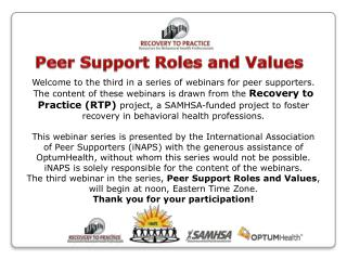 Peer Support Roles and Values