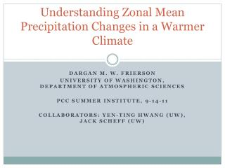 Understanding Zonal Mean Precipitation Changes in a Warmer Climate