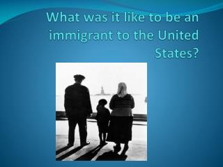 What was it like to be an immigrant to the United States?
