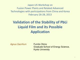 Validation of the Stability of  PbLi  Liquid Film and its Possible Application