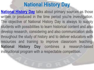 National History Day – California