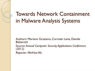 Towards Network Containment in Malware Analysis Systems