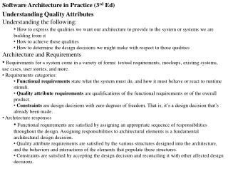 Software Architecture in Practice (3 rd  Ed) Understanding Quality Attributes