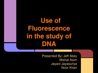 Use of Fluorescence in the study of DNA