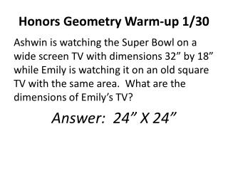 Honors Geometry Warm-up 1/30