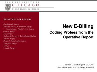New E-Billing Coding Profees from the Operative Report