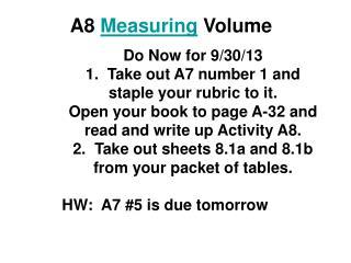 A8  Measuring  Volume