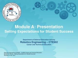 Module A:  Presentation Setting Expectations for Student Success