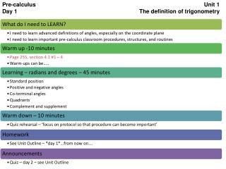 Pre-calculus Unit 1 Day 1 The definition of trigonometry
