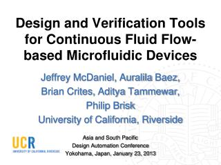Design and Verification Tools for Continuous Fluid Flow-based Microfluidic Devices