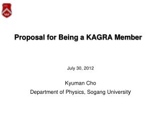 Proposal for Being a KAGRA Member