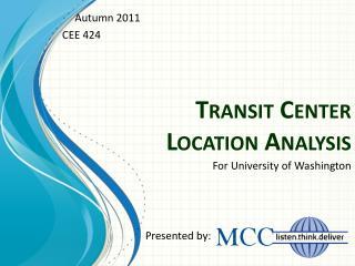Transit Center  Location Analysis