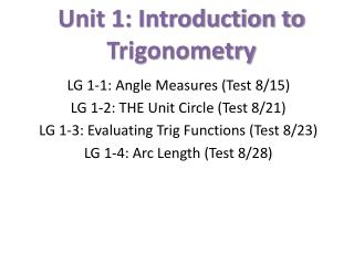 Unit 1: Introduction to Trigonometry