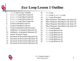 for  Loop Lesson 1 Outline