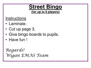 Street Bingo for up to 6 players