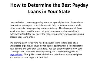How to Determine the Best Payday Loans in Your State