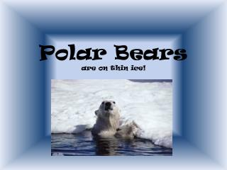 Polar  Bears are on thin ice!