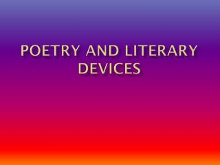 Poetry and Literary Devices