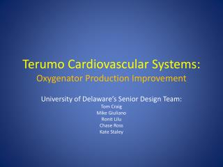 Terumo Cardiovascular Systems: Oxygenator Production Improvement