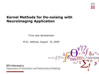 Kernel Methods for De-noising with Neuroimaging Application
