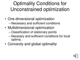 Optimality Conditions for Unconstrained  optimization
