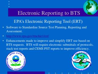 Electronic Reporting to BTS