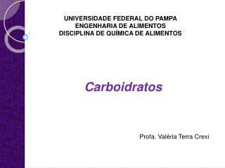 UNIVERSIDADE FEDERAL DO PAMPA  ENGENHARIA DE ALIMENTOS DISCIPLINA DE QUÍMICA DE ALIMENTOS