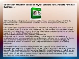 EzPaycheck 2012: New Edition of Payroll Software Now Availab