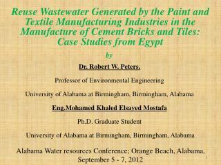 Alabama Water resources Conference; Orange Beach, Alabama, September 5 - 7, 2012