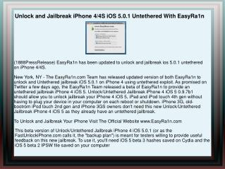 Unlock and Jailbreak iPhone 4/4S iOS 5.0.1 Untethered With E